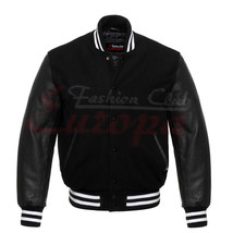 Varsity Black Wool Letterman Jacket Real Black Leather Sleeves - $66.99