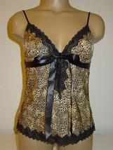 Jezebel leopard print cami slinky lace trim satin ribbon trim-M-NWT-$26.... - $8.56