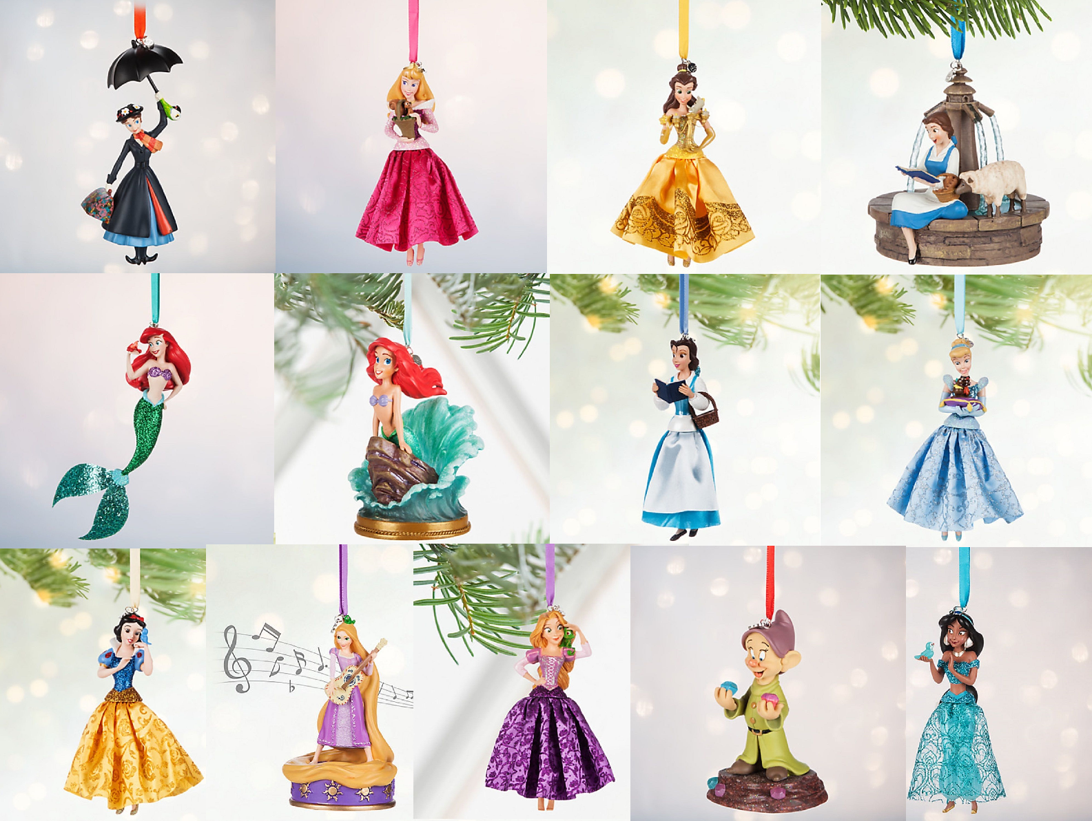 Primary image for Disney Store Christmas Ornament Belle Aurora Jasmine Snow White Ariel 2016