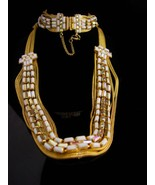 Vintage Hobe set - Signed estate jewelry - milk glass choker - rhineston... - $195.00