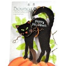 Happy Halloween Black Cat & Pumpkin Bouncy Garden Hanging Sign Home Decor image 2