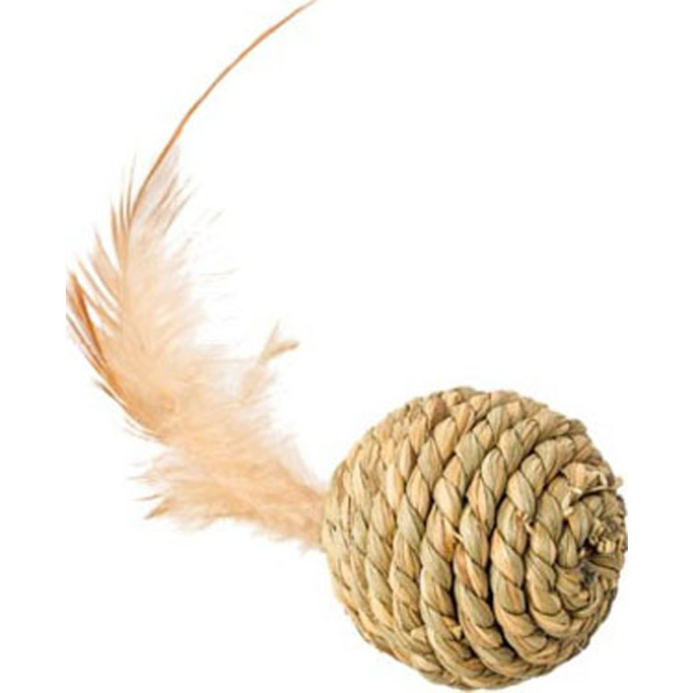 Ethical Assorted Seagrass Ball W/feathers Cat Toy 2.5in 077234520925