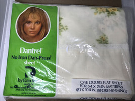 VTG 70s Dan River Double Flat Sheet Yellow Rose Dantrel USA NEW NIP - $19.79