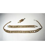Estate Vintage Rhodium Plate Rhinestone Choker Necklace & Bracelet Set C... - $27.96