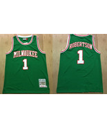 Milwaukee Bucks 1# Oscar Robertson Green Basketball Jersey.jpg - $26.66