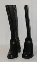 Soda HIROS Black Zip Up Riding Boot Gold Colored Accents Size Six image 2