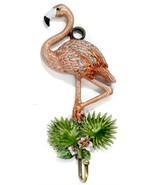Kubla Flamingo enameled wall hook. Beautiful. Aviary.Birds.Wildlife.Key holder. - $39.95