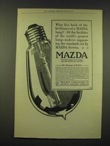 1918 General Electric Mazda light bulb Ad - What lies back of the brilliance - $14.99