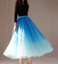Blue Layered Tulle Skirt Blue Puffy Tulle Skirt Plus Size image 4