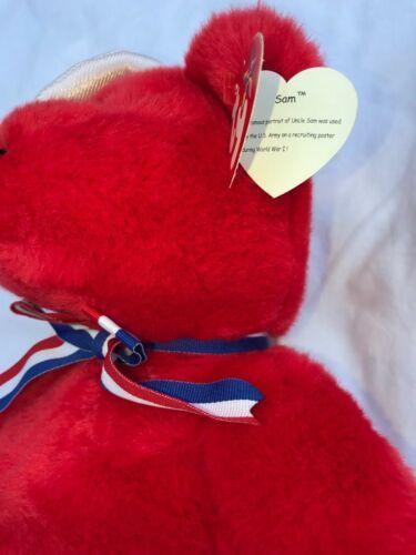 "SAM THE RED BEAR BEANIE BUDDY 2004 MWMT 14"" Patriotic Stars & Stripes Hat image 6"