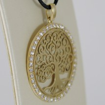 18K YELLOW GOLD TREE OF LIFE PENDANT 25 MM, 1 INCHES, ZIRCONIA, MADE IN ITALY image 2