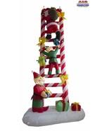CHRISTMAS 8 Ft Santa & Elves Climbing A Candy Cane Ladder AIR BLOWN INFL... - $78.29