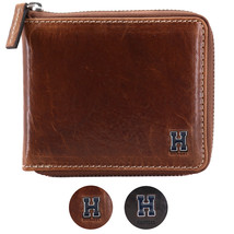 Tommy Hilfiger Men's Leather Zip Around Wallet Passcase Billfold Rfid 31TL130047