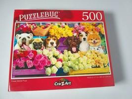 Flower Market Pup Dogs Pug Bulldog Beagle Lab Pom Terrier Jigsaw Puzzles... - $9.90