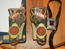 Vtg Toy Cap Gun Dual Double Faux Leather Fiber Holsters and Belt Cowboy - $9.80