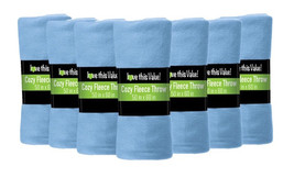 12 Pack Soft Warm Fleece Blanket or Throw Blanket - 50 x 60 Inch Light Blue - $56.11