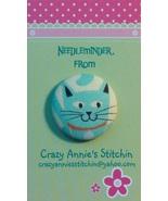 Cat Blue Needleminder fabric cross stitch needle accessory - $7.00