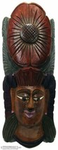 Tribal Carved Wood Painted Mask Wall Hanging 20.5 x 9 cm - $21.23