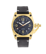 Shield Pascal Leather-Band Men's Diver Watch - Black/Gold - $725.00