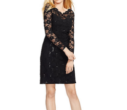NWT WOMEN LAUREN RALPH LAUREN Black  Sequined Lace Ruched Dress Size 2P ... - $60.38