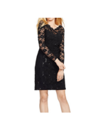 NWT WOMEN LAUREN RALPH LAUREN Black  Sequined Lace Ruched Dress Size 2P ... - $60.99