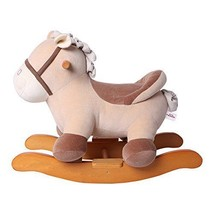 Plush Rocking Horse Ride on Toy Toddler Stuffed Animal Wooden Sturdy Roc... - $135.06