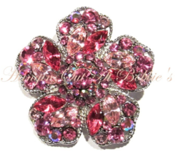 Flower Pin Brooch Pink Crystal Multicolor Silver Tone Metal Spring Summer Theme - $29.99