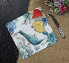 Indigold Blue Bird 8 Inch Square Glass Cheese Board with Spreader - $21.78
