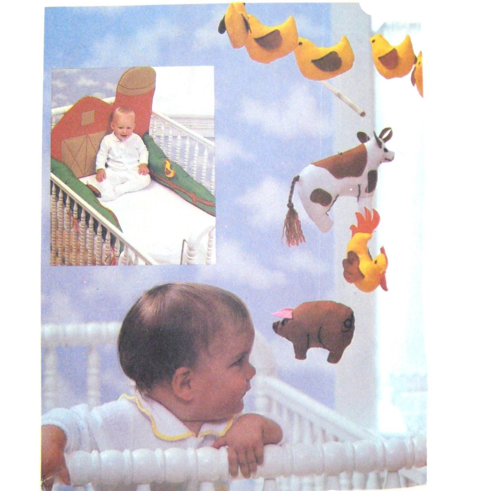 Vtg Butterick 6854 Baby Crib Bumper Mobile Wall Hanging Farm Cow Chicken Duck FF
