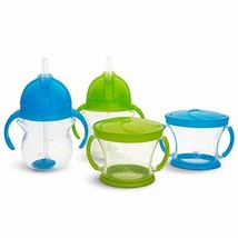 Munchkin Happy Snacker Snack Catcher and Sippy Cup Set, 4 Count, Blue/Green - $19.63