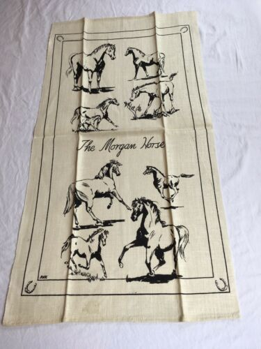 VTG NOS Kay Dee MORGAN HORSE Linen Kitchen Tea Towel