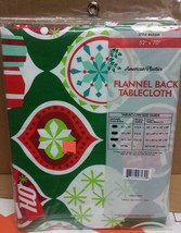 "Flannel Back Vinyl Tablecloth 52"" X 70"", Winter, Christmas Theme By Ap - $15.83"