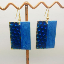 BLUE ENAMEL GOLD PLATED SQUARE DANGLE EARRINGS    COMBINED SHIPPING - $2.96