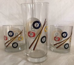 SET 3 ROCKS WHISKEY LOWBALL OLD FASHIONED GLASSES W/ POOL BALLS & QUE ITALY - $19.99