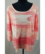 Zenergy By Chicos women XL orange white 3/4 sleeve pull over shirt casua... - $15.52