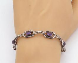 925 Sterling Silver - Vintage Cabochon Cut Amethyst Swirl Chain Bracelet... - $64.60
