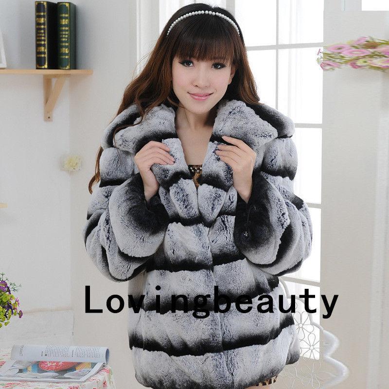 Chinchilla Grey Hooded Jacket Striped Real Rex Rabbit Fur Coat Chinchilla Fur for sale  USA