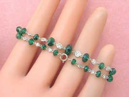 ESTATE 1.27 ctw DIAMOND 5 ctw EMERALD RONDELLE BEAD BY-THE-YARD CHAIN BR... - $2,671.81