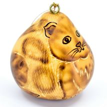 """Handcrafted Carved Gourd Art Cat Kitten Kitty 2.5"""" Ornament Made in Peru image 5"""