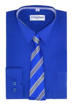 Berlioni Italy Kids Toddlers Boys Long Sleeve Dress Shirt Set With Tie - Size 6 image 1