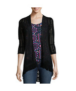 Self Esteem 3/4-Sleeve Lace Cozy Black Sweater Size M $42.00 New - $14.99