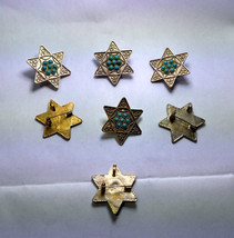 Antique Pendant with Silver Turquoise Style Stones Star-Magen of David-4... - $15.00