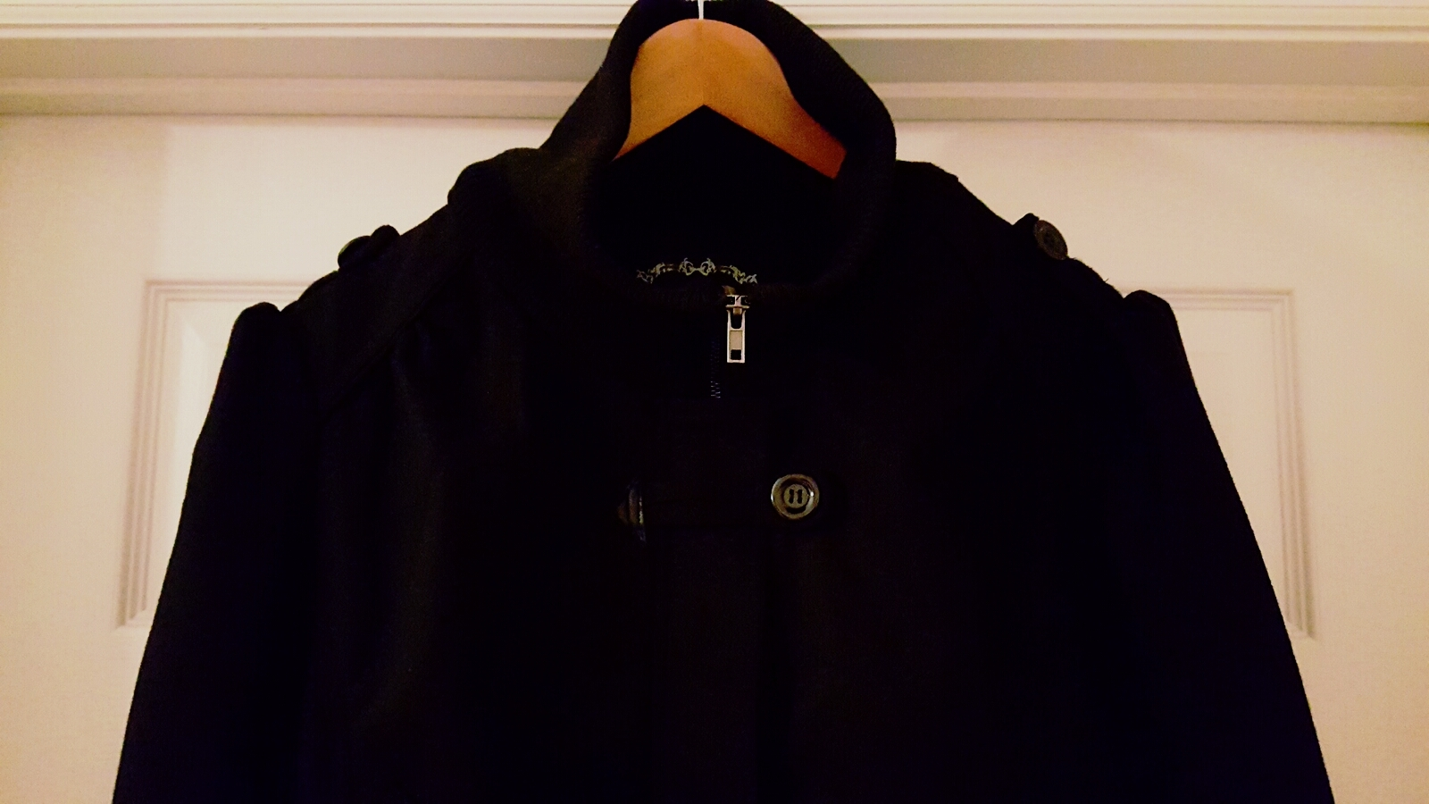 Juniors Black Puff Sleeve Military Bomber Jacket 2XL