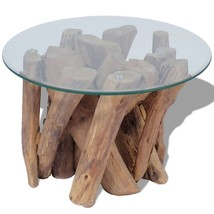 Handmade Coffee Table Solid Teak Base and Tempered Glass Tabletop Home F... - €203,42 EUR