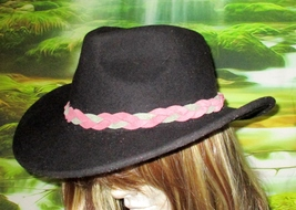 Custom Made MultiColored Braided Leather Hat-Band, Suede Leather  - $23.95