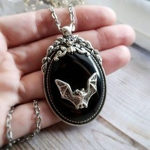 Gothic Vampire Bat Necklace, Witch Necklace,Halloween Rock,Gothic Victor... - $9.53