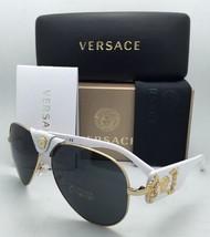 Nuevo Versace Gafas de Sol Ve 2150-q 1341/87 Oro y Blanco Aviador Monturas Gris