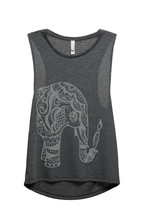 Thread Tank Artisan Elephant Women's Sleeveless Muscle Tank Top Tee Char... - $24.99+
