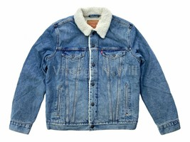 Levis Mens M L Medium Blue Wash Sherpa Denim Jean Trucker Jacket Quilted... - $93.10