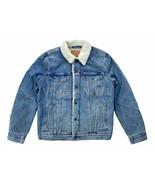 Levis Mens M L Medium Blue Wash Sherpa Denim Jean Trucker Jacket Quilted... - $93.10